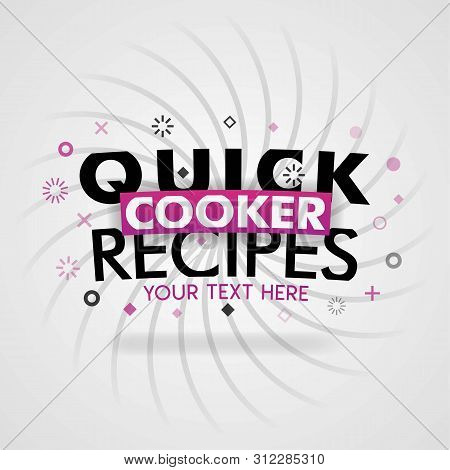 Pink Logo For Quick Cooker Recipes. For Recipe Websites, Food Blog, Today Recipes, Buy Food Mobile A