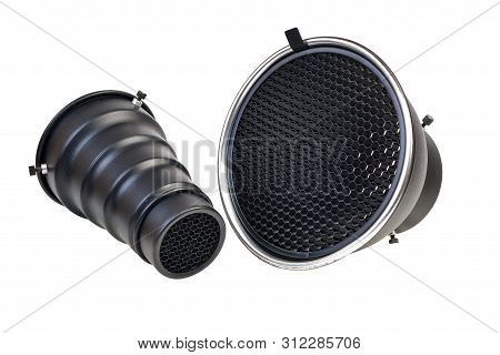 Reflector And Snut With Honeycomb Grid Accessory For Studio Strobes And Flashes Isolated On White Ba