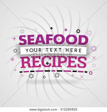 Pink Logo For Seafood Recipes. For Recipe Websites, Food Blog, Today Recipes, Buy Food Mobile App, F
