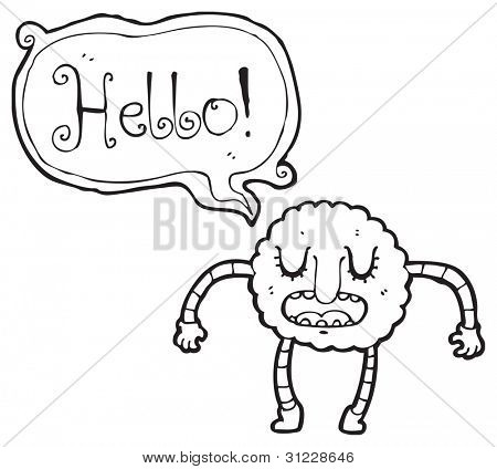 funny cloud person saying hello poster