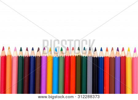 Colored Pencils On White Background. Color Pencils Set, Row Wooden Color Pencils Isolated On White B