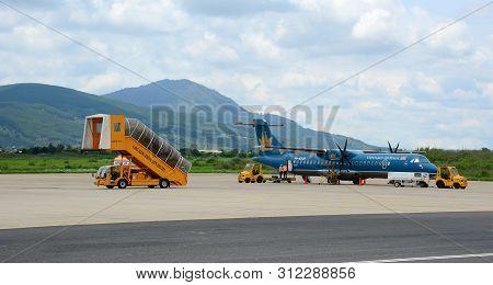 Dalat, Vietnam - May 20, 2016. A Vna Airplane Docking At The Lien Khuong Airport In Dalat, Vietnam.