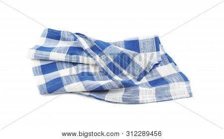 Crumpled Blue Checkered Kitchen Towel On White Background