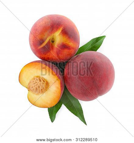 Sweet Juicy Peaches With Leaves On White Background, Top View