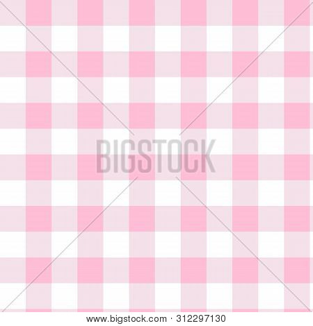 Pink Gingham Pattern. Texture From Squares For Plaid, Tablecloth. Vector Illustration