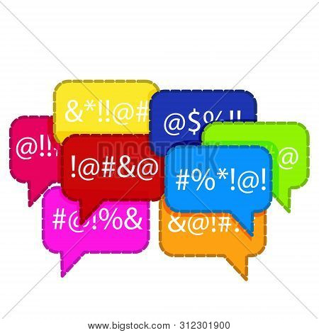 Complain Or Curse Thin Icon. Flat Cartoon Trendy Modern Red Logotype Graphic Chatroom Element Design