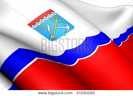 Flag of Leningrad Oblast Russia. Close Up. poster