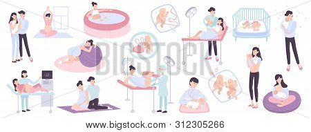Flat Collection Of Pregnancy Childbirth And Maternity Scenes With Young Parents Doctors And Newborn