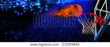 Burning basketball ball. Concept basketball background