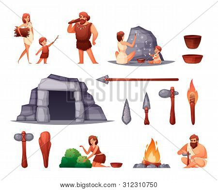 Prehistoric Stone Age Caveman Family Home Rock Paintings Open Fire Weapon Tools Flat Set Isolated Ve