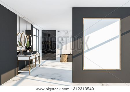 White Marble And Gray Bathroom Interior, Poster