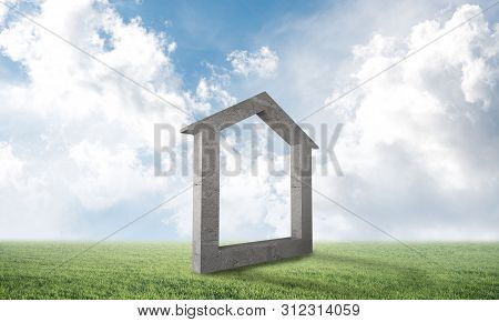 Big House Sign On Green Field. Architecture Agency Advertising. Sale And Rent New Real Property. Bea