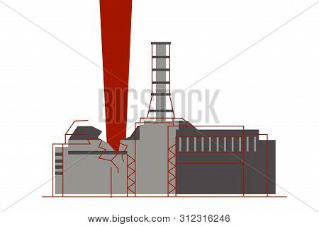 An Explosion Of The Nuclear Reactor And Atom Radiation Emission At Nuclear Power Plant.