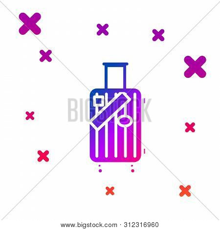 Color Suitcase For Travel And Stickers Icon Isolated On White Background. Traveling Baggage Sign. Tr