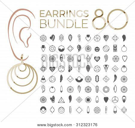 80 Vector Designs Of Earring. Cutout Silhouette With Tribal Pattern. Template Is Suitable For Creati