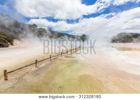 An image of geothermal activity at Rotorua in New Zealand