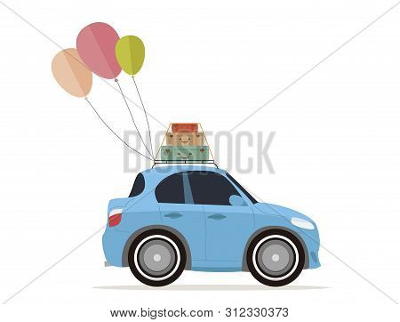 Vintage Travel Car, With Hot Air Balloons