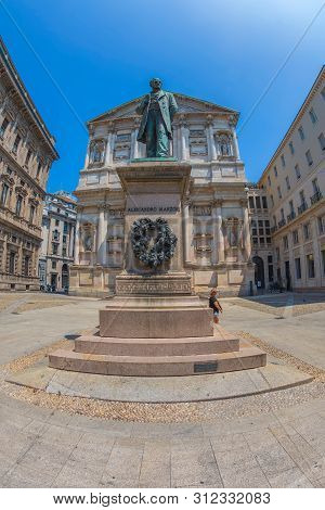 Milan, Italy, June 28, 2019: Monument Of Alessandro Manzoni In Piazza San Fedele. Was An Italian Poe