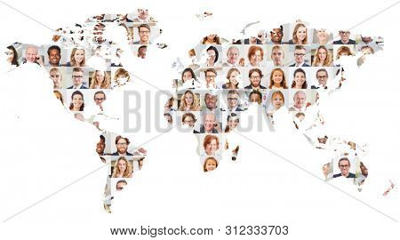 Indoor portrait collage of people of different ages on world map as globalization, society and generations concept