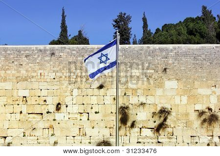 Israeli flag at the Western Wall, Jerusalem , Israel poster