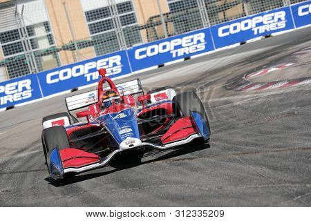 July 14, 2019 - Toronto, Ontario, CAN: MATHEUS LEIST (4) of Brazil races through the turns during the  race for the Honda Indy Toronto at Streets of Toronto in Toronto, Ontario.
