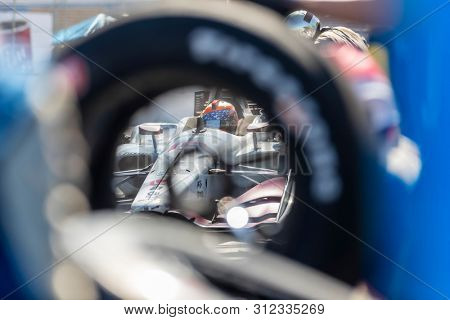 July 14, 2019 - Toronto, Ontario, CAN: SANTINO FERRUCCI (19) (R) of the United States brings his car in for service during the Honda Indy Toronto at Streets of Toronto in Toronto Ontario.