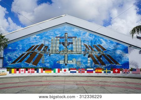 Cape Canaveral,fl/usa-2/13/18:  A Mural Of The International Space Station At  The Kennedy Space Cen