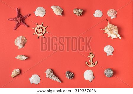 Frame From Variety Of Seashells On The Background Of Living Coral. Flat Lay. Marine Concept