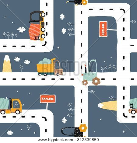 Seamless Pattern With Road? Truck And Tractor. Cool Kids Print For Carpet Or Nursery Textile. Vector