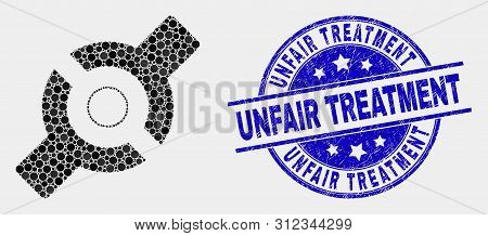 Pixel Artificial Joint Mosaic Icon And Unfair Treatment Seal. Blue Vector Round Textured Seal Stamp