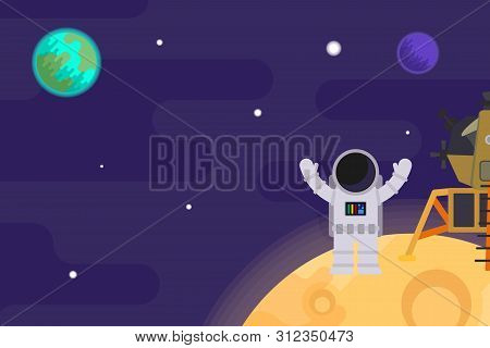 The First Man On The Moon, Apollo 11. Nasa. Vector Flat Illustration.