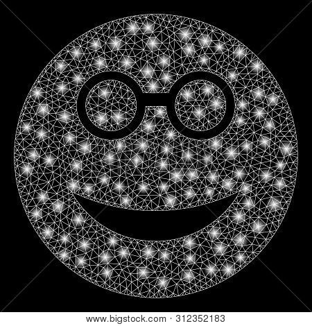 Glowing Mesh Clever Smiley With Glare Effect. Abstract Illuminated Model Of Clever Smiley Icon. Shin