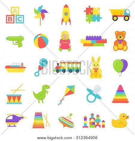 Baby Toy. Vector. Kids Toys Isolated. Set Cute Baby Shower Stuff In Flat Design On White Background.