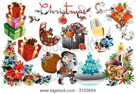 Set Of Vector Christmas Design Elements