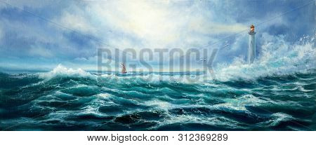 Original Oil Painting Of  Lighthouse And Storm In Ocean On Canvas.modern Impressionism