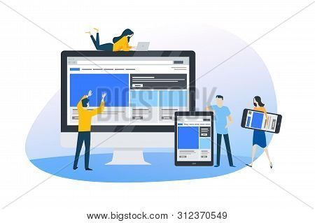 Flat Design Concept Of Web Design And Development, Responsive Design, Seo. Vector Illustration For W