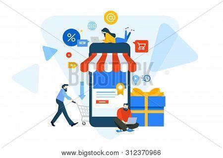Flat Design Concept Of M-commerce, Online Shopping. Vector Illustration For Website Banner, Marketin
