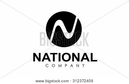 Flat Logo Of Round Form Where In The Center There Passes The River Forming The Letter N. Round Shape