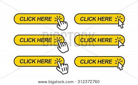 Click Here. Icon For Web Site. Set Of Clicking Forefingers And Mouse Cursors On Yellow Rectangular S
