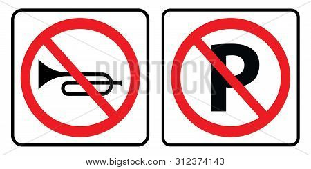 No Horn Sign And No Parking Symbol.no Horn Sign And No Parking Symbol On White Background Drawing By