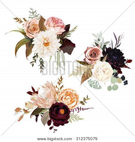 Moody Boho Chic Wedding Vector Bouquets. Warm Fall And Winter Tones. Orange Red, Taupe, Burgundy, Br