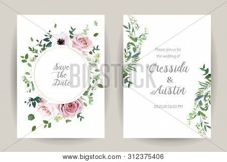 Classic Floral Vector Design Frames. Dusty Pink Rose, Anemone, White Lilac, Eucalyptus, Greenery. Tr