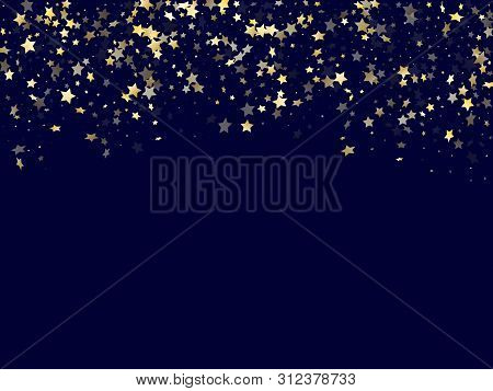 Gold Falling Star Sparkle Elements Of Glitter Gradient Vector Background. Modern Confetti Gold Stars