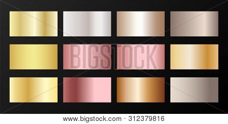 Silver, platinum, bronze, pink gold vector metallic gradients. Badges set. Foil chrome, alloy, aluminum, titanium, copper, silver, yellow and pink gold, platinum, steel, bronze background swatches. poster