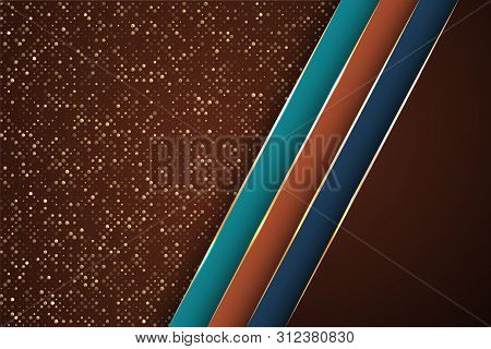 Gold Halftone Dots And Inclined Ribbon Stripes Banner Vector Design. Vip Poster Background Template.