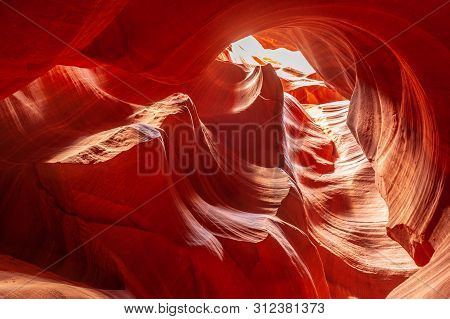 The Deep Red Canyon Walls Of The Upper Antelope Canyon, Near Page, Arizona.