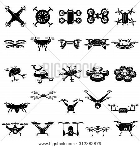 Drone Icons Set. Simple Set Of Drone Icons For Web Design On White Background