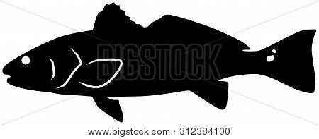 Redfish Black Vector Silhouette Clip Art Image