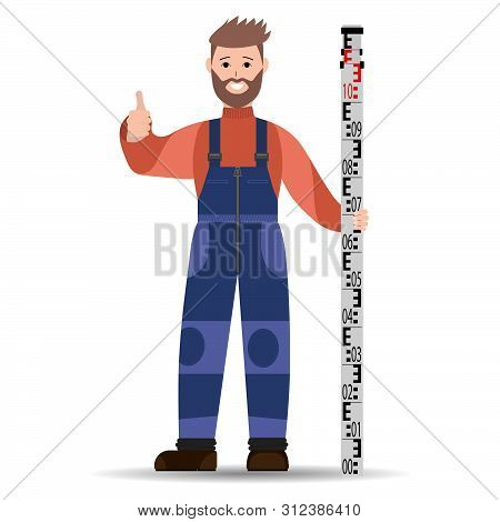 A Bearded Surveyor With A Rake In A Blue Jumpsuit And A Coral Jacket. Vector Illustration.