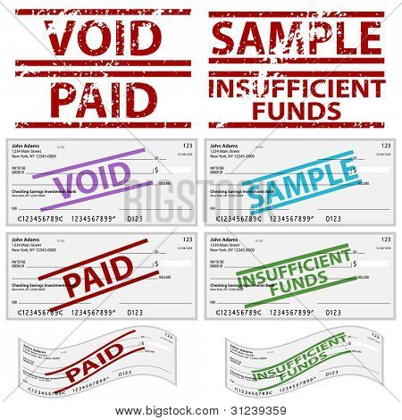 An image of a stamped personal checks.